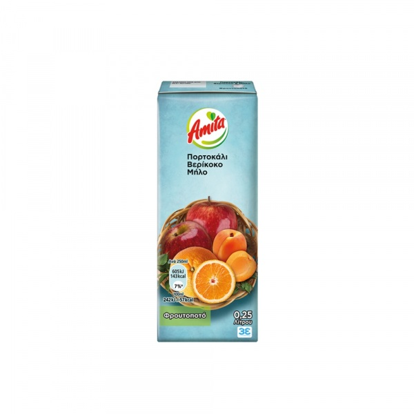 Amita Χυμός Νέκταρ Πορτοκάλι - Βερίκοκο - Μήλο 250ml