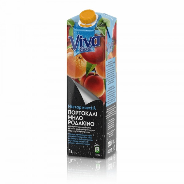 Viva Νέκταρ Κοκτέιλ Πορτοκάλι, Μήλο & Ροδάκινο 1lt